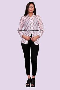 1e409967e2d8 Summer Women s Fashion Indian Cotton Long Sleeve Paisley Print White ...