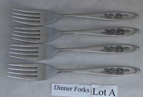 4 Oneida Community My Rose Dinner Forks Stainless Steel