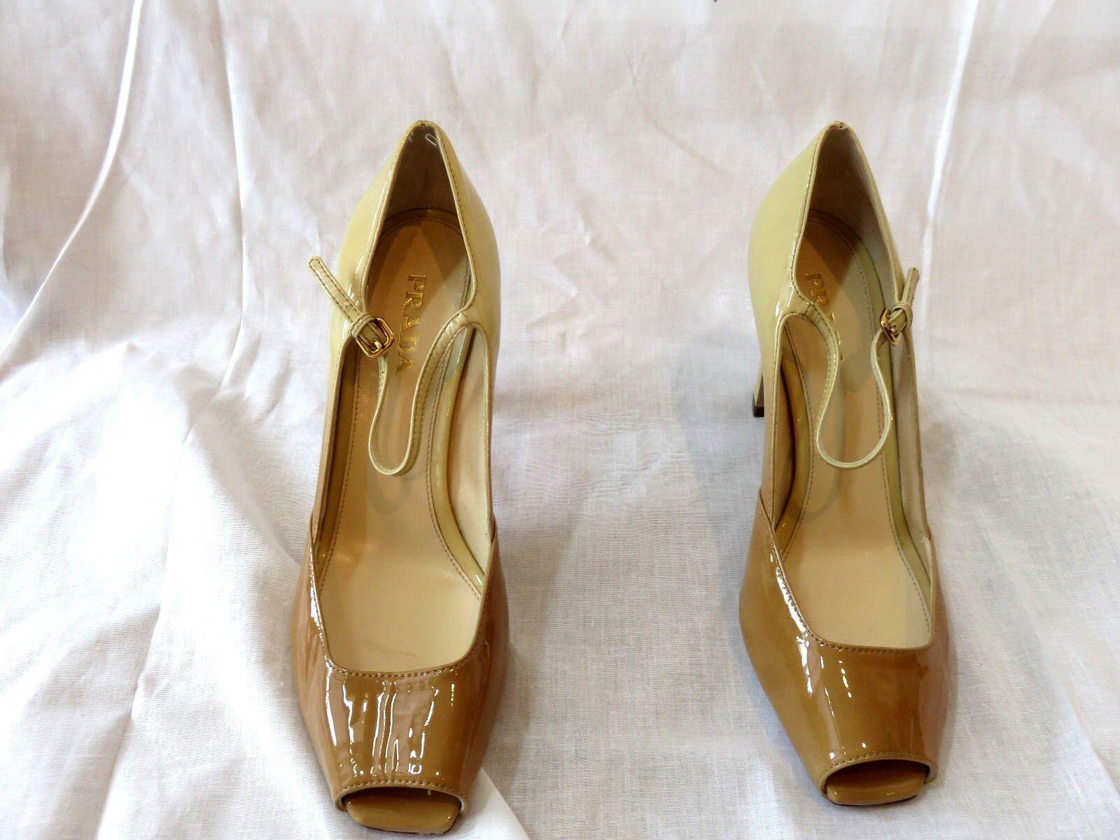 Prada  Beige Tan Patent Peep Toe Mary Jane Pump scarpe New Dimensione 39  8.5  sconto online
