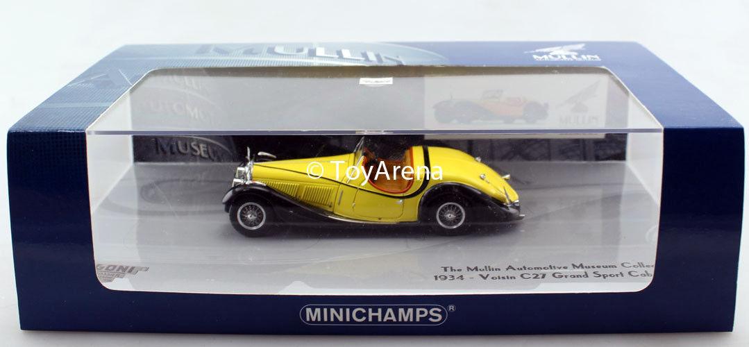 Minichamps 1   43 note c27 grand sport - cabriolet 1934 mullin gelbe blk druckguss