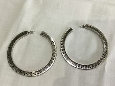 House of Harlow 1960 New & Gen. Antique Silver Plated Hoop Earrings (Pierced)