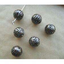Lot 10 Perle 10mm Filigrane Rond Metal Charms Argente Mat Creation Bijoux