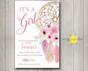 custom baby shower invitation girl boho floral feathers dream