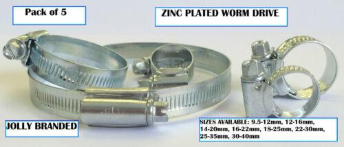 Lot de 5 Jolly Ver Lecteur Clips Tuyau 30-40mm Colliers plaqué zinc tailles 9.5-12mm