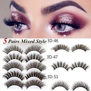 9856ede4d11 Image is loading 5-Pairs-3D-Eyelashes-Handmade-Natural-Popular-False-