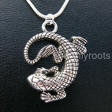 """Beautifully detailed Lizard Gecko Pendant with 16"""" Sterling Silver Snake Chain"""