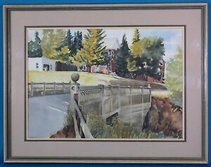 Ken-Hanson-Signed-Bridge-Landscape-Original-Watercolor-Canadian-listed-artist