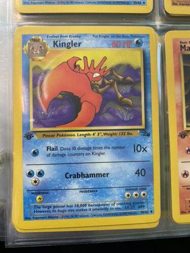 Uncommon Fossil Set Pokémon Card 38//62 NM+ FIRST Ed KINGLER