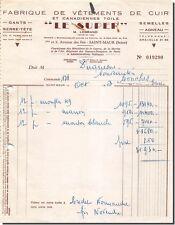 Facture LE SUPER M.LEGRAND fabrique de vêtements de cuir à Conches 1953