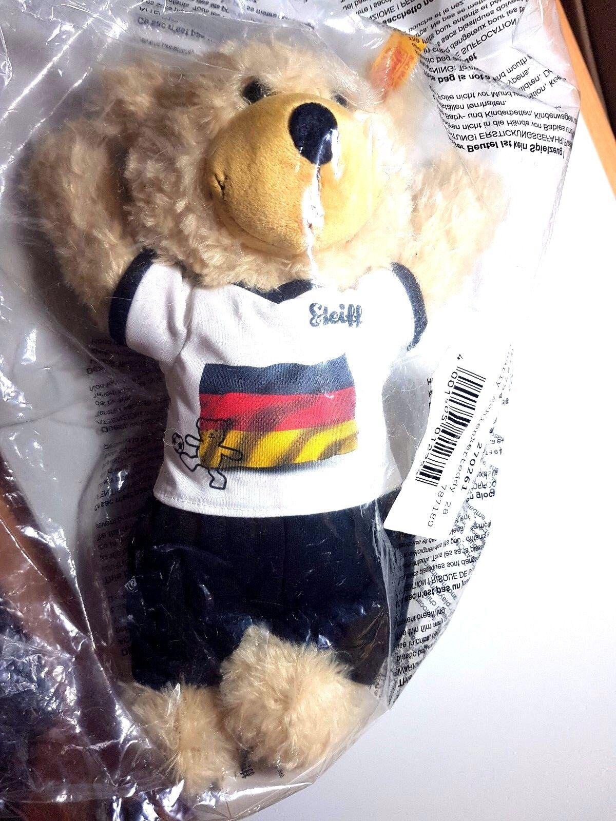 Steiff 012754 Teddy Charly Fußball EM 2016 beige 28 cm Schlenkerteddy NEU OVP