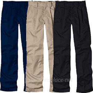 4df4a856c8 Details about Dickies Pants Boy Husky School Uniform Pleated Front pant  58062 Black Navy Khaki
