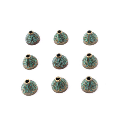 10Pcs Verdigris Patina Stopper  End Caps Tassel Spacer for Round Leather Cord