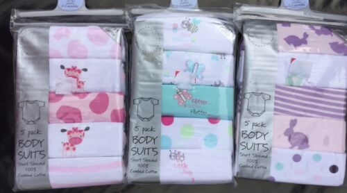 5 Pack Short Sleeve Bodysuits with Butterflies size 0-3 months Rabbits or Cows