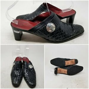 Brighton Twirl Black Slip On Woven Block Heel Mule Shoes Women's Size 8.5 N