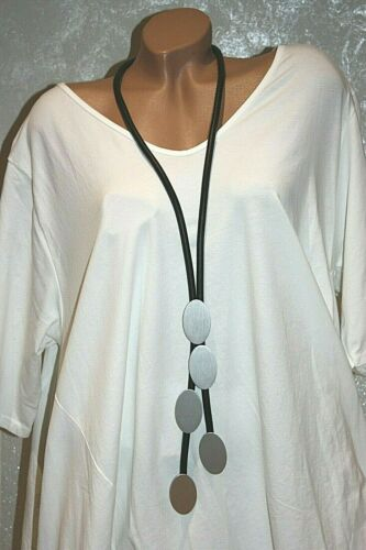 Schwarz Lagenlook 39 Kautschuk Halskette Modeschmuck Kette Collier Silber