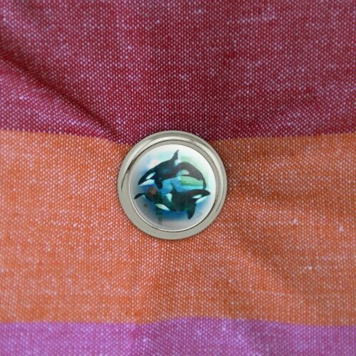 Set of 4 Orcas Killer Whales Watercolor Yin Yang Metal Craft Sewing Buttons