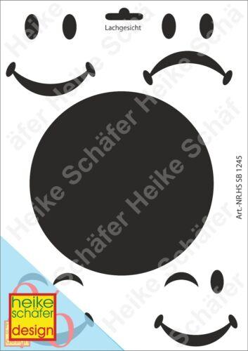Smile Neu Heike Schäfer Design Schablone-Stencil A4 043-1245 Lachgesicht