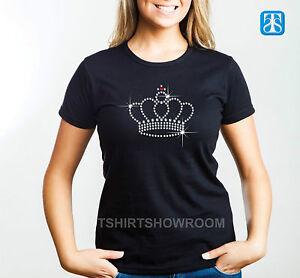 Krone durchsichtig Kristall Strass Strass verziert Damen T-Shirt Tiara