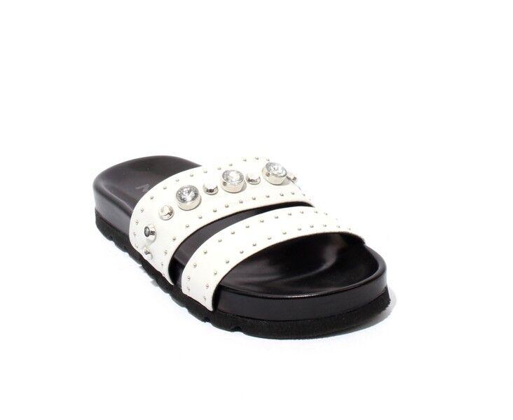 Mally 6201b White Leather Studded Platform Slides Sandals 41   US 11