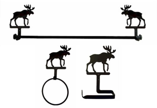 Wrought Iron Moose Bath Set with Traditional Style Toilet Paper Holder