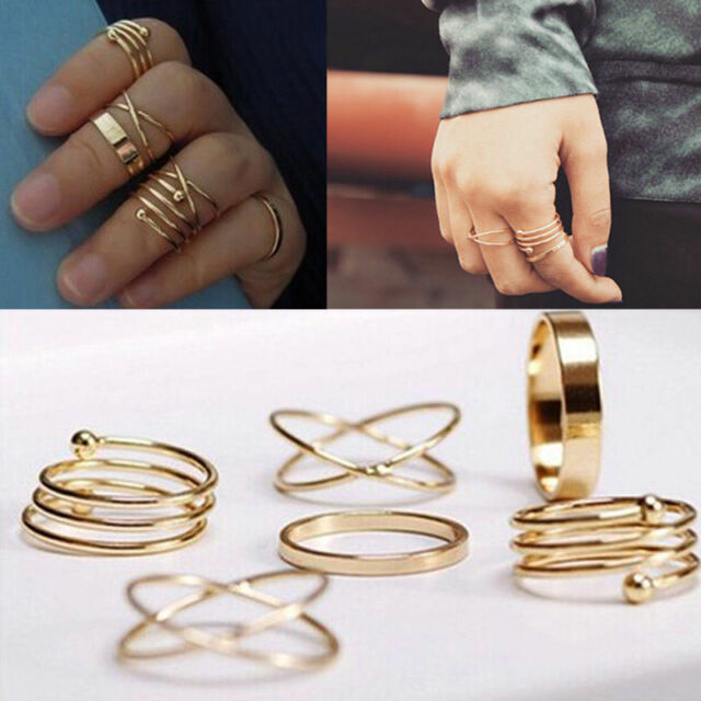 6PCS/Set Women Lady Fashion Gold Plated Finger Tip Stacking Rings Jewelry Gift