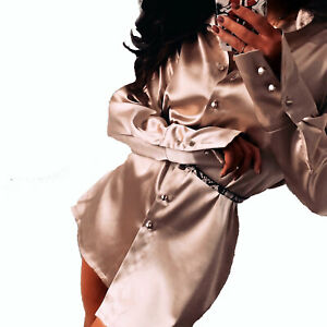 LA-Damen-kleid-Minikleid-Satin-Bluse-Longbluse-Blusenkleid-Partykleid-XS-M