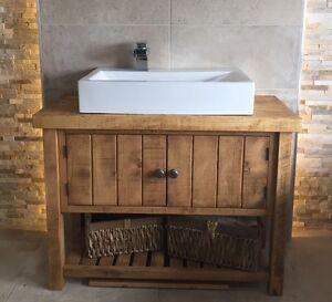 New Rustic Chunky Solid Wood Bathroom Sink Vanity Unit