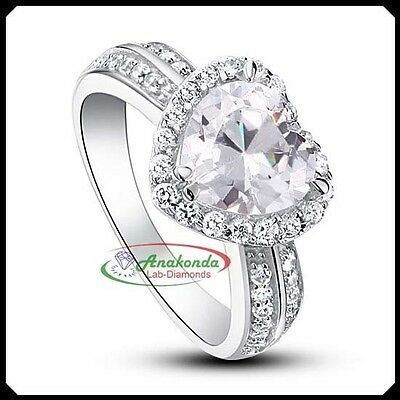 2.40C Heart FL Lab Diamond Solid 10K White Gold Engagement Silver Solitaire Ring