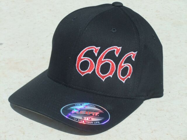 666 Hat -  Red/White on Black