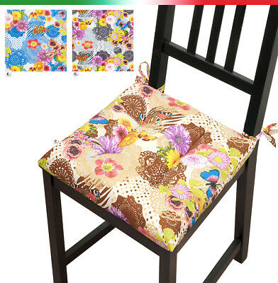 Cuscini coprisedia UNIVERSALI cuscino sedie cotone FIORI FARFALLE cucina casa | eBay