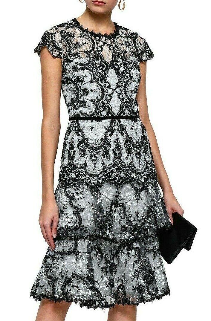 Vestido de Encaje nuevo Marchesa Notte con Cable de  terciopelo bordado Negro blancoo en niveles de 8  artículos novedosos