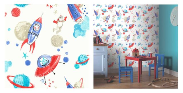 Arthouse Starship Blue White Star Space Rocket Wallpaper, 668001 SAMPLE ONLY