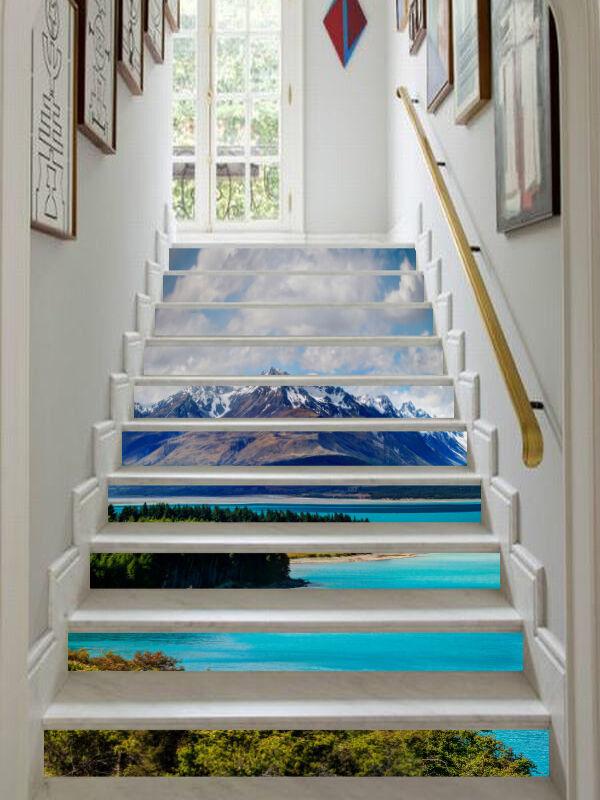 3D Teich 22 Stair Risers Dekoration Fototapete Vinyl Aufkleber Tapete DE