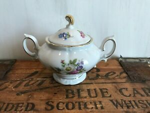 Winterling Fine China Flower Garden Gold Trim Bavaria Germany Sugar Bowl Lidded