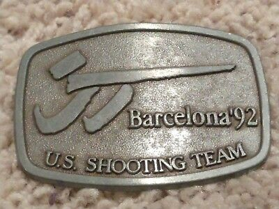 "Fan Apparel & Souvenirs Shooting Team 1992 Barcelona Olympic Belt Buckle 3-1/4 × 2-1/4"" Helpful U.s"