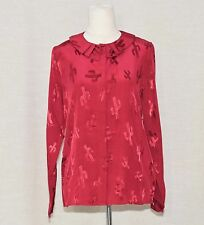 """NWT PEPALOVES BURGUNDY ROUND PLEATED COLLAR TOP """"IN THE BLINK OF A CACTI"""" FIT M"""