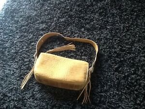 Leder Tasche * Ledertasche mit Fransen hellbraun camel
