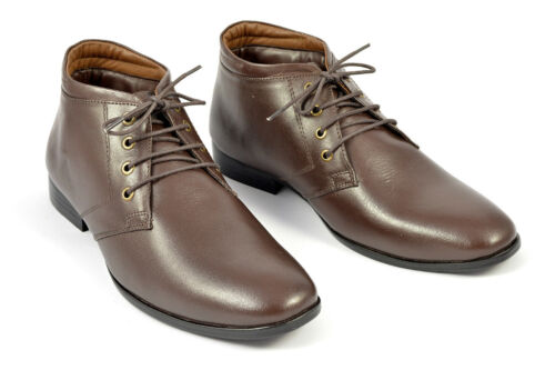 Mens Gents Chukka Boots Leather Party Lace-up Formal Shoes Size 7 8 9 10 11 12