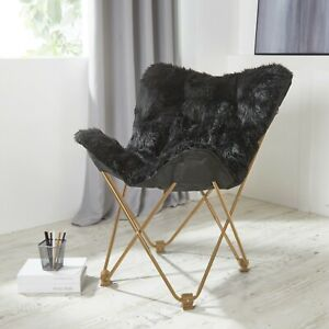 Details about Comfy Black Faux Fur Butterfly Folding Chair Seat Teens Dorm  Bedroom Furniture