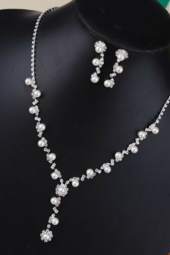 Crystal Pearl Necklace Earring Set Silver Bridal Bridesmaid Wedding Jewelry Set