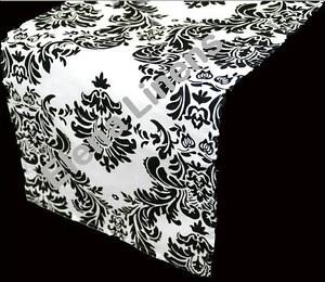 """10 Damask Table Runners 12/"""" x 108/"""" 3D Black White Flocking Flocked Made in USA"""