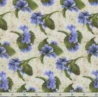 'lovely' Blue Pansies Tossed On Natural Fabric - Debbie Beaves (rjr)