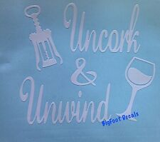 Car Window Wall Bar Decal Uncork And Unwind With Corkscrew And Glass Of Wine
