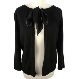 M-amp-S-Size-10-Black-Angora-Cashmere-Blend-3-4-Sleeve-Cardigan-Bow-Party-Cover-Up