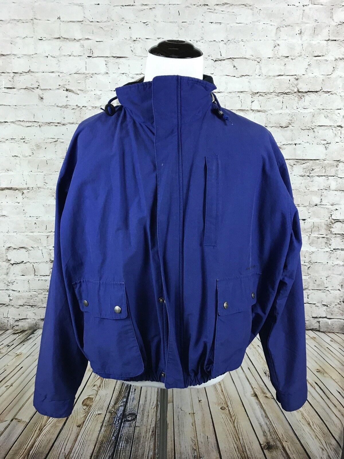 Vtg Polo Sport Ralph Lauren männer's jacke Hood Größe XL Spell Out Blau Coat