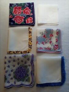 VINTAGE-HANDKERCHIEFS-LOT-OF-6-LOVELY-MULTI-COLORED-PATTERNS-amp-ACCENTS