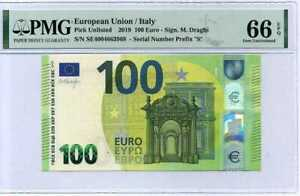 EURO-100-EURO-2019-S-PREFIX-ITALY-P-NEW-GEM-UNC-PMG-66-EPQ-NEW-LABEL