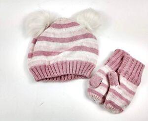 edb539b4674 Gap Baby Toddler Girl Crazy Stripe Pom Pom Hat and Mittens set Pink ...