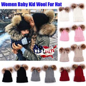 e8039ab425e US Women Baby Kid Warm Winter Knit Wool Beanie Fur Pom Bobble Hat ...