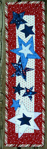 Handcrafted Quilted Appliqued Mini Wall Hanging FALLING STARS PATRIOTIC RED BLUE